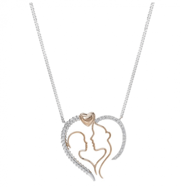قلادة الماس من الذهب الوردي -عيار 18 قيراط (يوم الأم)