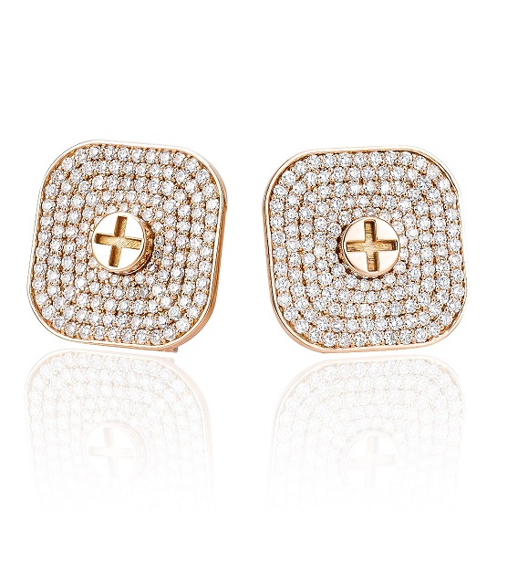 Full Diamond Earrings  25MM- 18K Gold