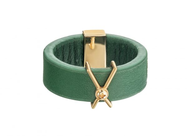 Green Leather Ring -18K Gold