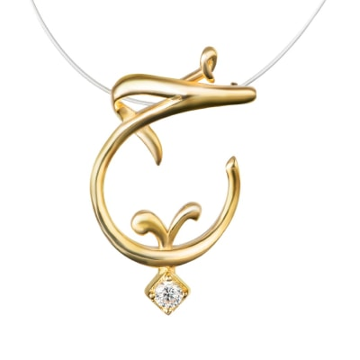 قلادة الحب عيار 18 قيراط - مطلية بالذهب الأصفر