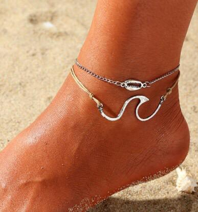 Layered wave shell anklet for beach jewellery