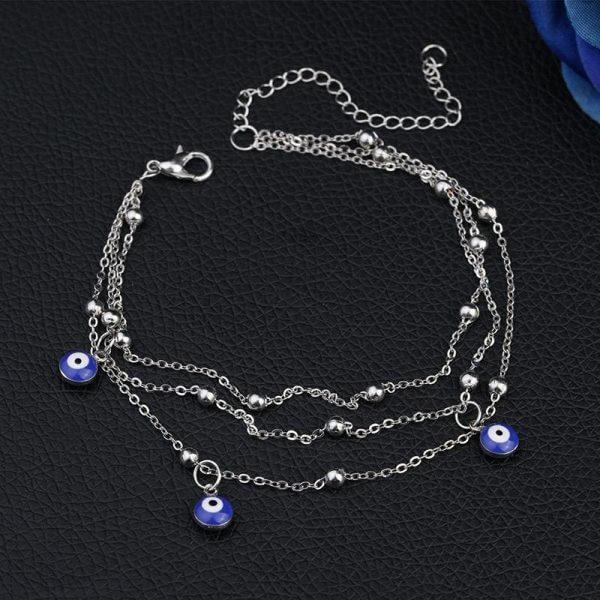 Tassel yellow gold bead chain fashion women eye anklet jewellery