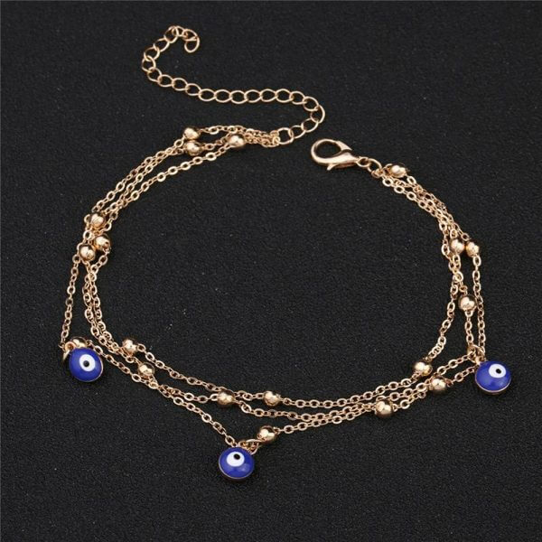 Tassel yellow gold bead chain fashion women eye anklet jewellery