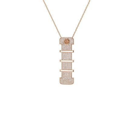 Full Diamond Pendant 18K Gold -10mm. (Strength Of Spirit)