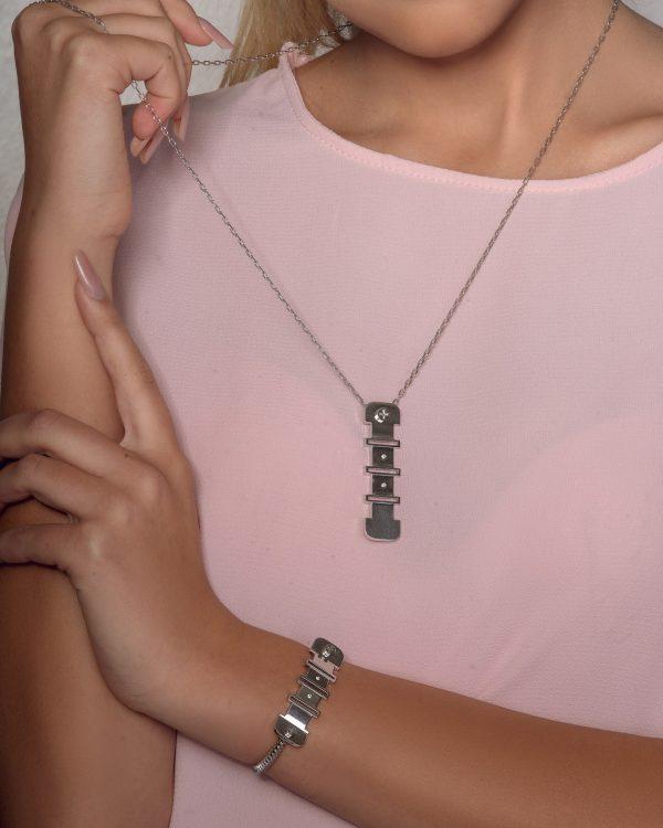 Diamond Silver Bangle (Strength Of Spirit)