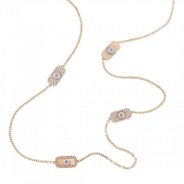 Long Chain Diamond Necklace 18K Gold